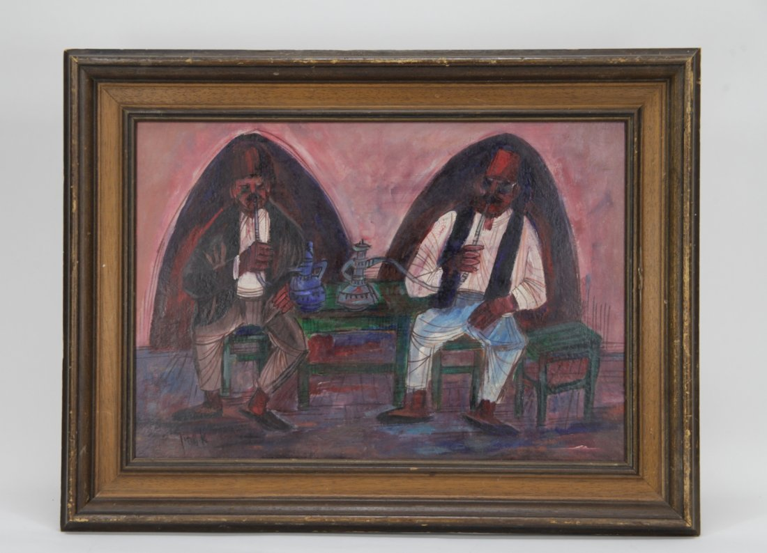 Israelis Painting of Two Hookah Smokers, Signed