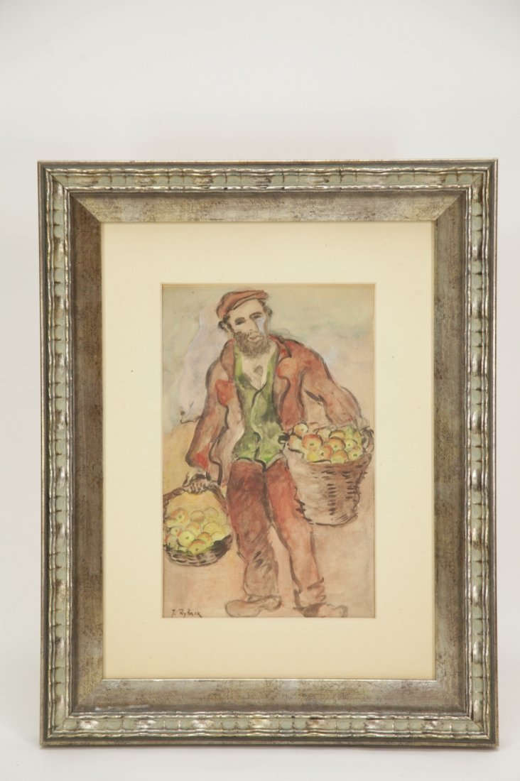 Paint on Paper Jewish Fruit Dealer, Signed