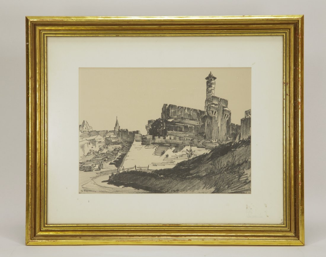 Pencil Painting on Paper of Jerusalem, Signed
