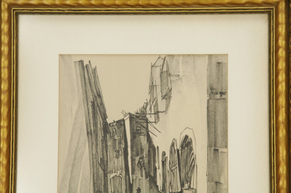 Pencil Painting on Paper of a Jerusalem Street - 2