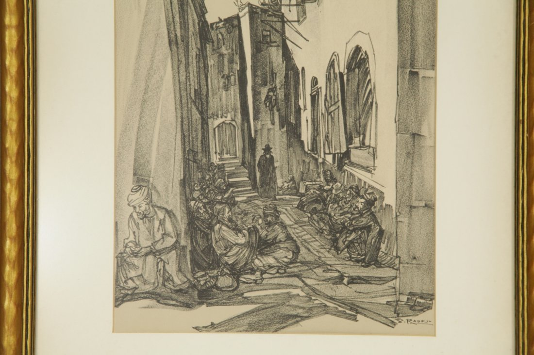 Pencil Painting on Paper of a Jerusalem Street - 3