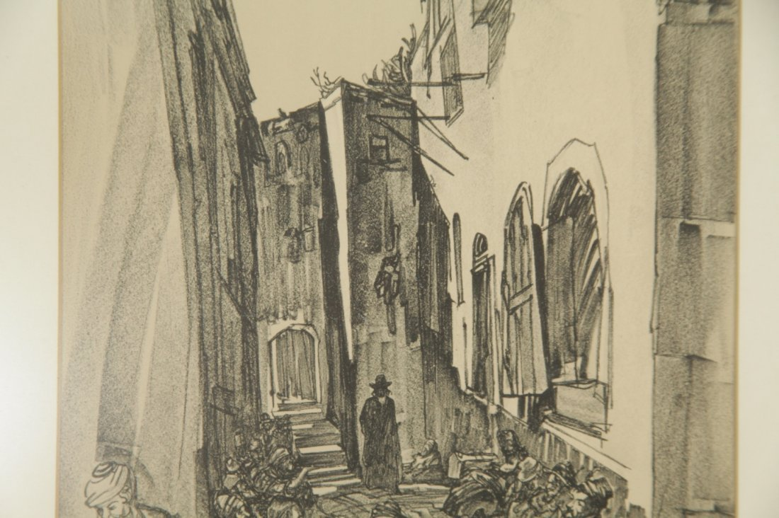 Pencil Painting on Paper of a Jerusalem Street - 4
