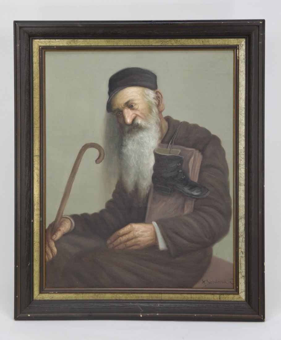 Oil on Canvas Painting of a Jewish Traveler, Signe