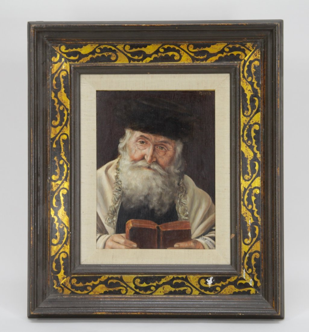 Oil on Board of Rabbi w/ Traditional Fur Hat