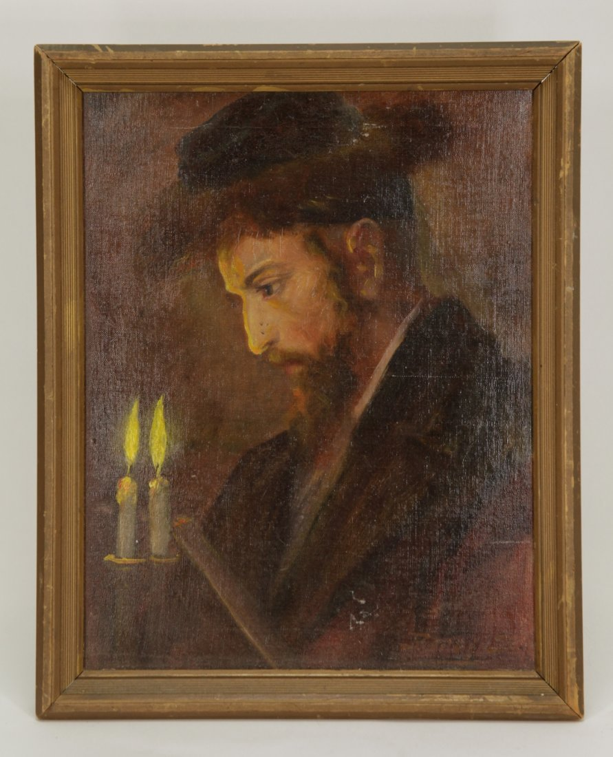 Oil on Canvas of Rabbi w/ Candles, Unkown Artist
