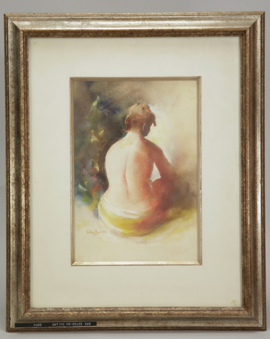 European Watercolor Painting on Paper, Signed