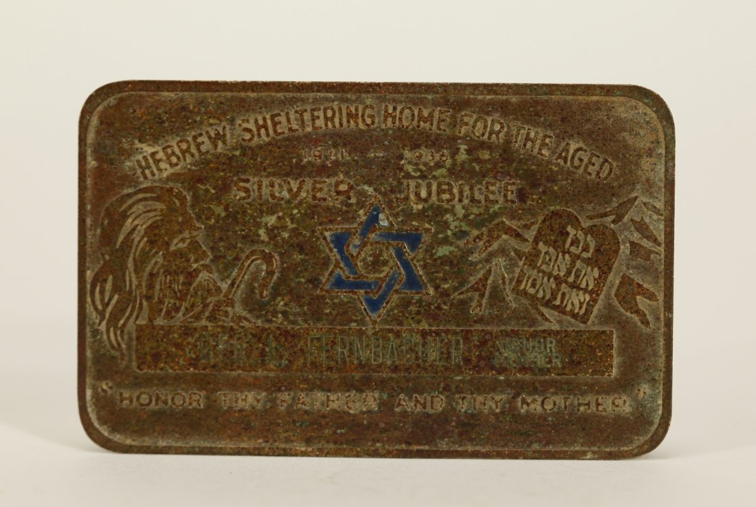 A Metal Plaque of Hebrew Sheltering Home