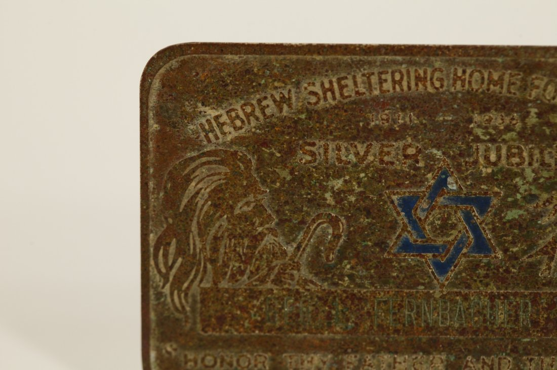 A Metal Plaque of Hebrew Sheltering Home - 2