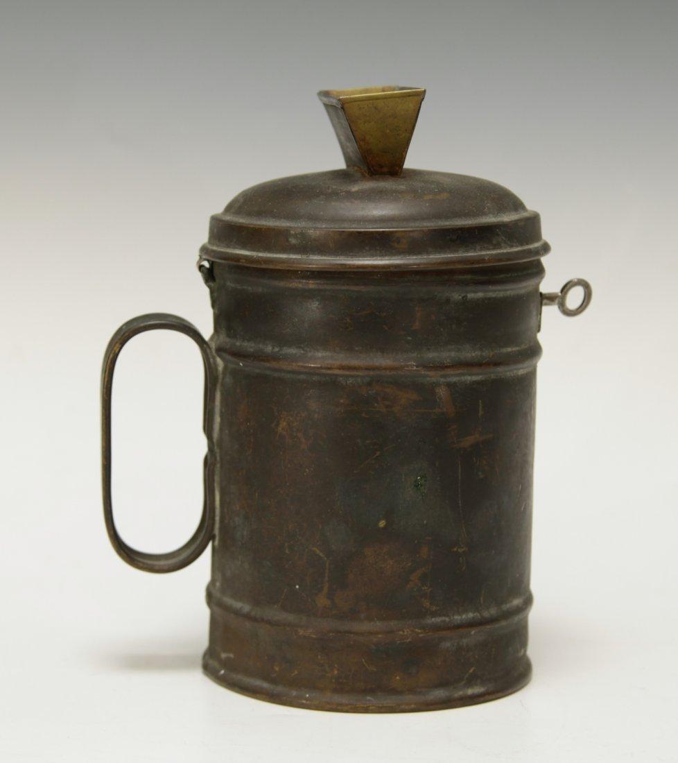 Judaica Copper Charity Box w/ Key