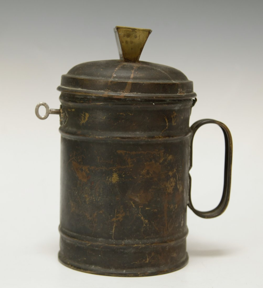 Judaica Copper Charity Box w/ Key - 4