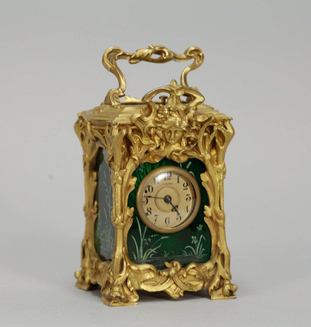 European Enamel and Bronze Art Nouveau Clock