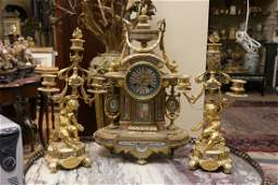 Late 19th C French Bronze and Porcelain Clock Set