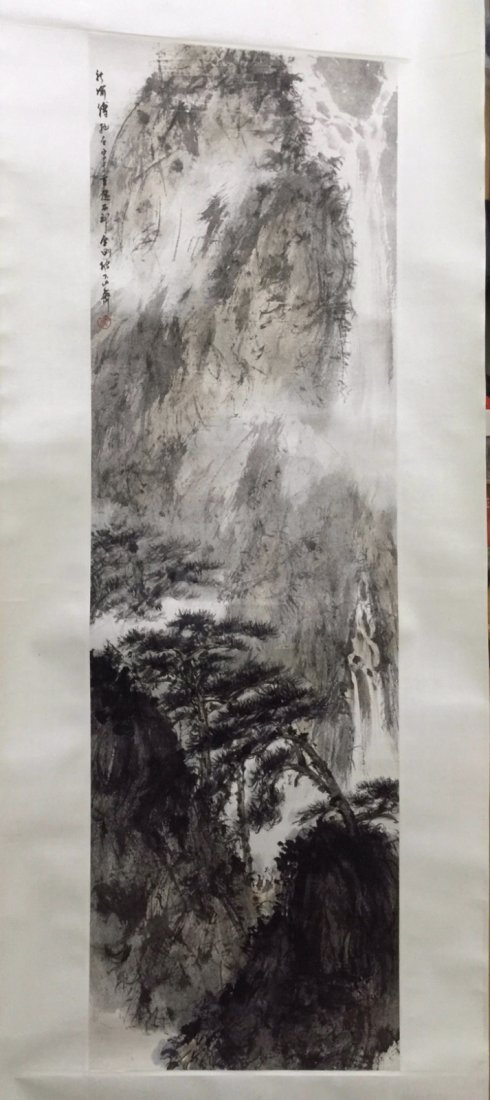Chinese Ink Landscape Scroll Painting
