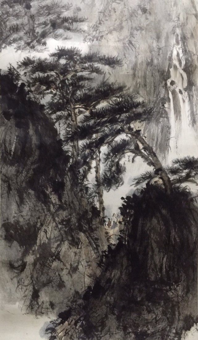 Chinese Ink Landscape Scroll Painting - 2