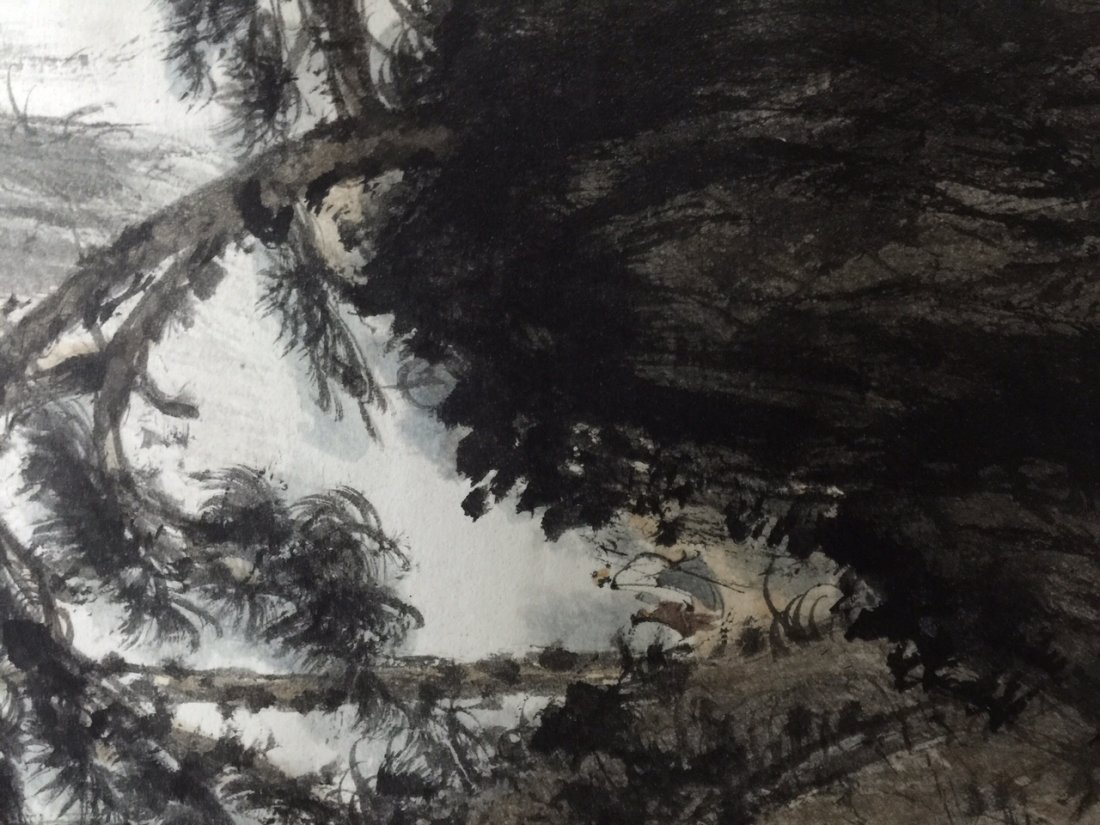 Chinese Ink Landscape Scroll Painting - 7