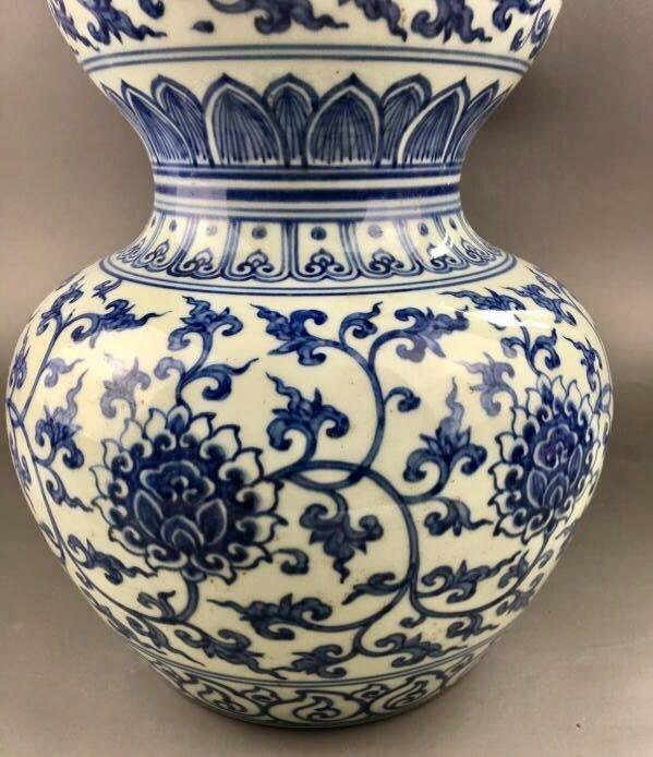 Chinese Blue/White Porcelain Gourd Shape Vase - 6