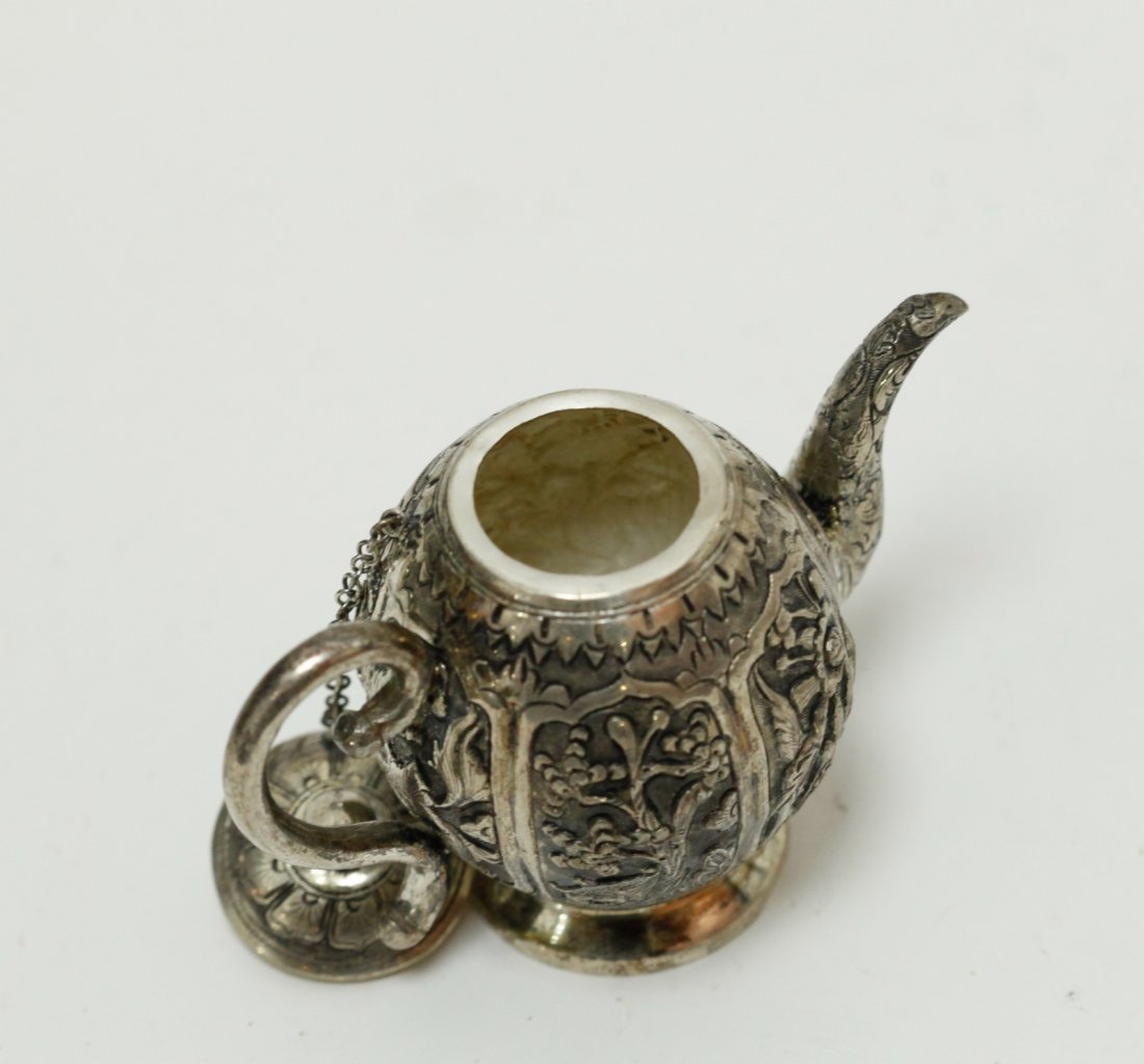 Chinese Export Silver Teapot w/ Fu Mark - 2