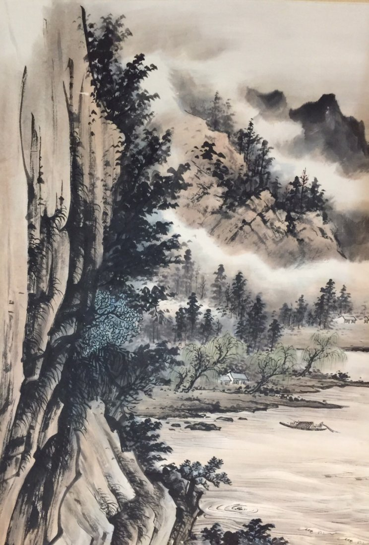 Chinese Landscape Painting on Paper, Signed - 2