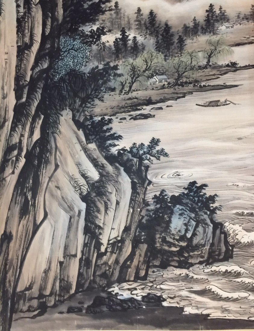 Chinese Landscape Painting on Paper, Signed - 4