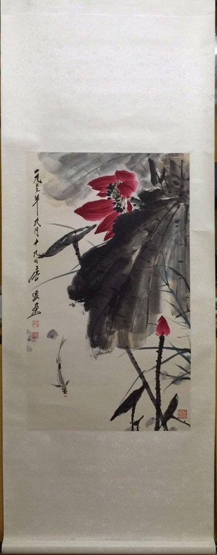 Chinese Scroll Painting of Lotus, Tang, Yun
