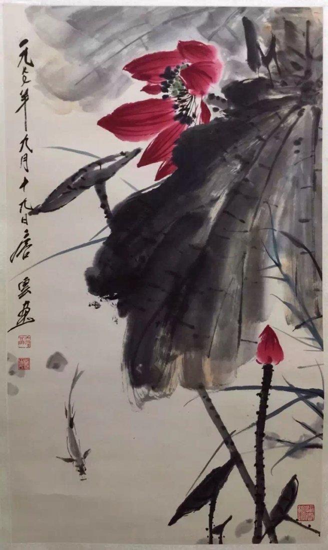 Chinese Scroll Painting of Lotus, Tang, Yun - 2