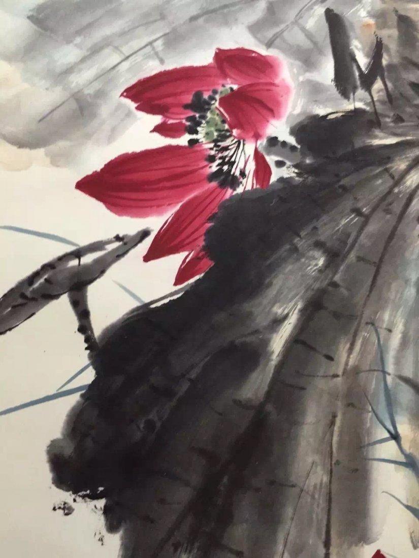 Chinese Scroll Painting of Lotus, Tang, Yun - 3