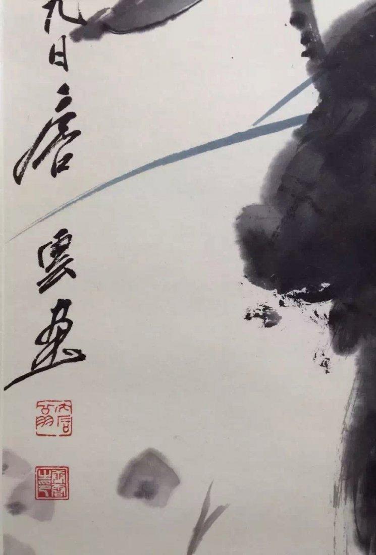 Chinese Scroll Painting of Lotus, Tang, Yun - 4