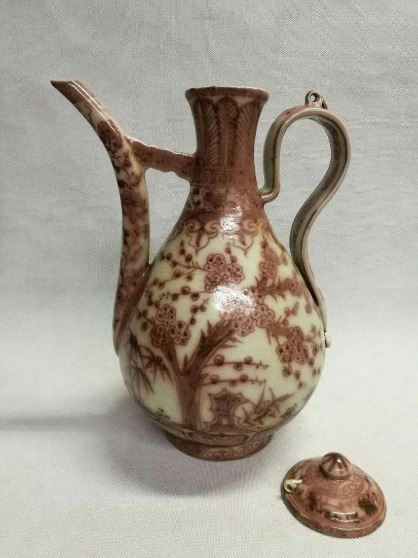 Chinese Copper Red Porcelain Wine Pot