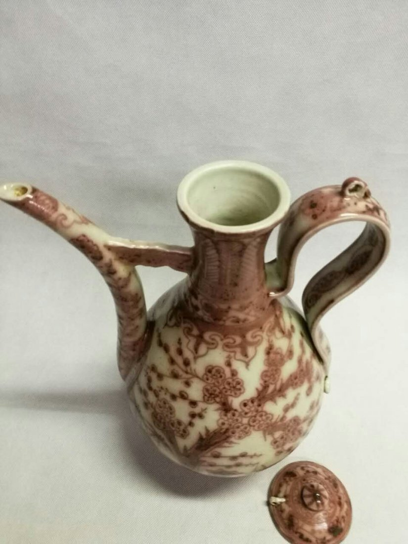 Chinese Copper Red Porcelain Wine Pot - 3