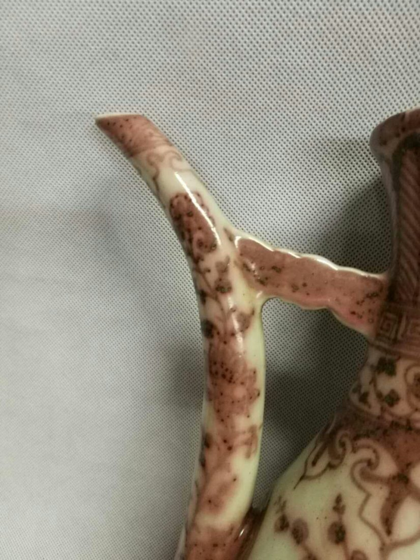 Chinese Copper Red Porcelain Wine Pot - 5