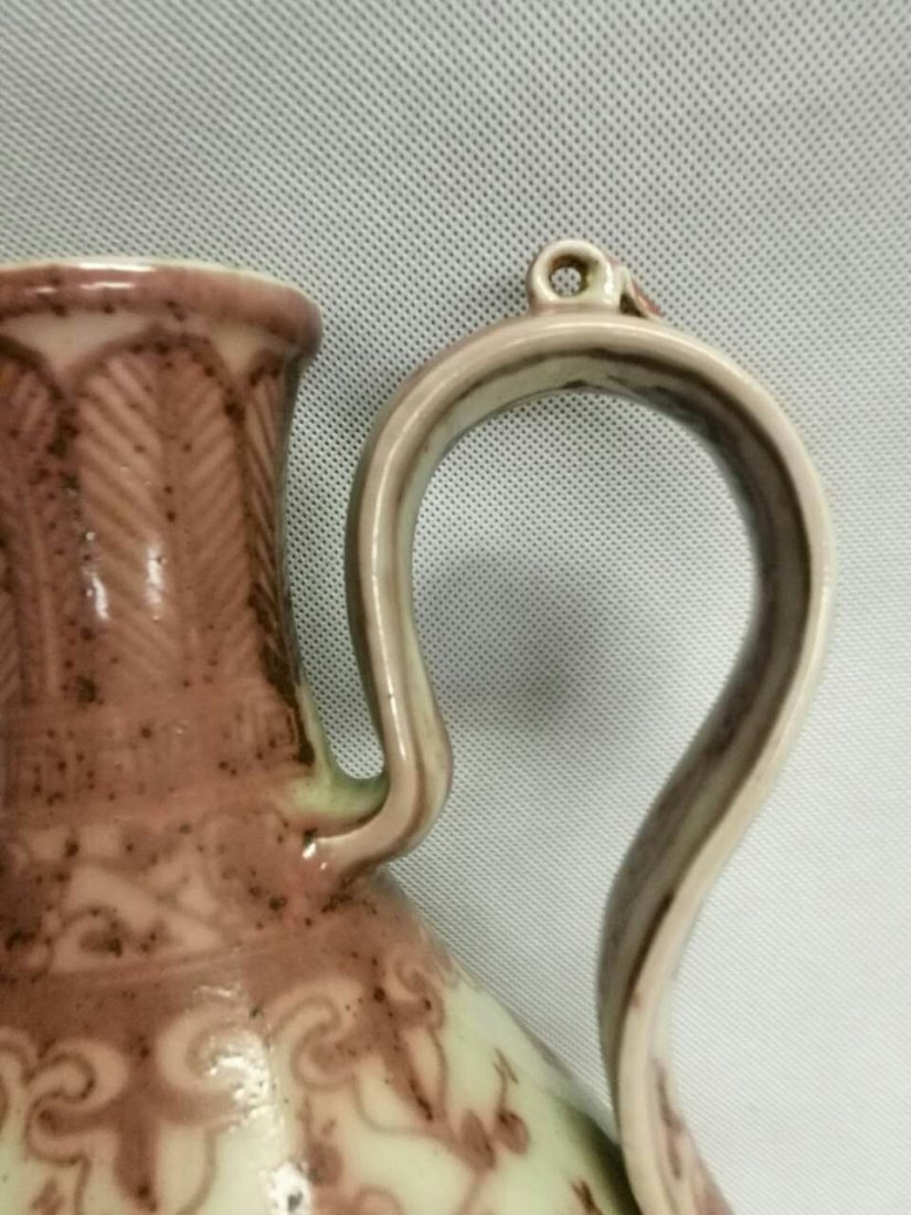 Chinese Copper Red Porcelain Wine Pot - 6