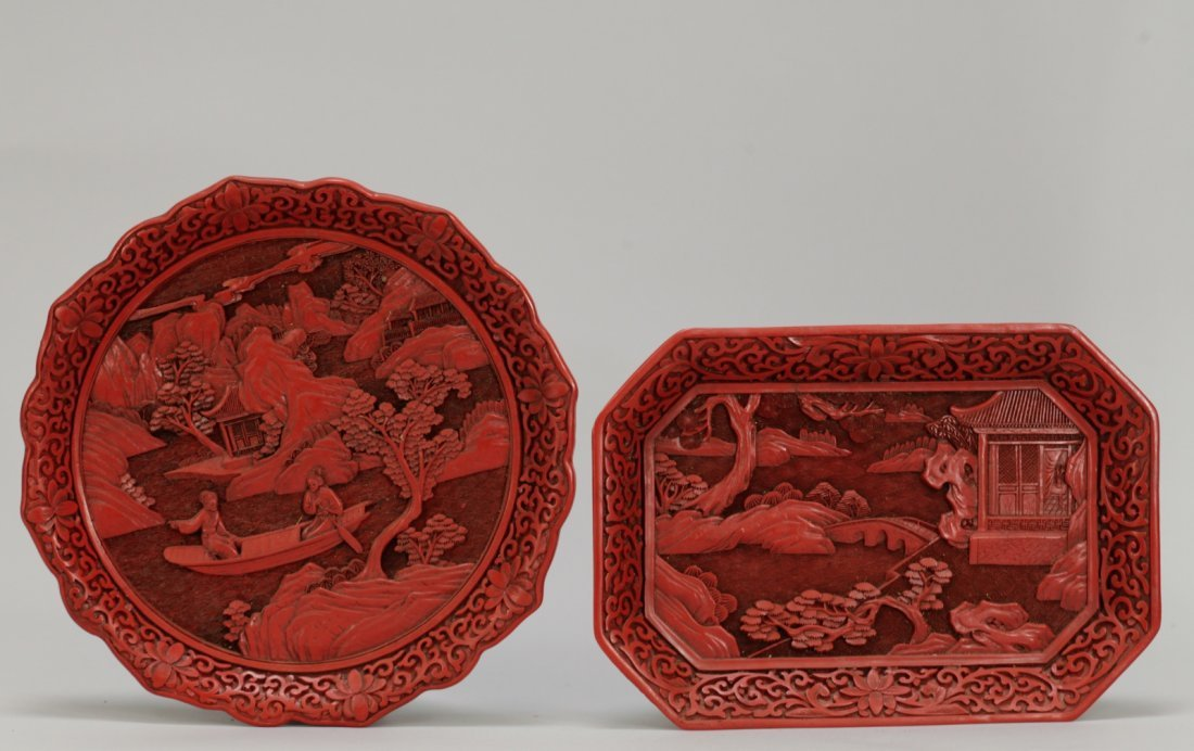 Two Pieces of Chinese Cinnabar Carvings