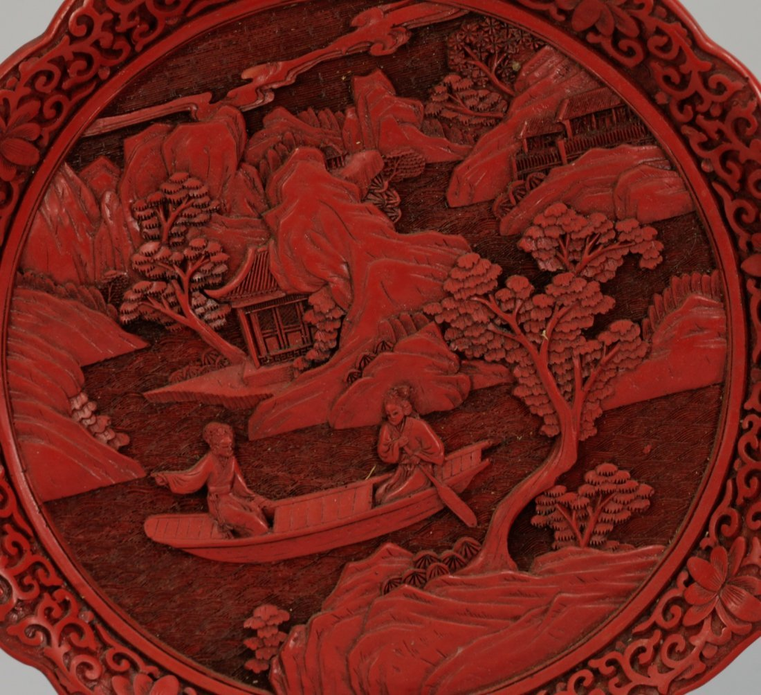 Two Pieces of Chinese Cinnabar Carvings - 2