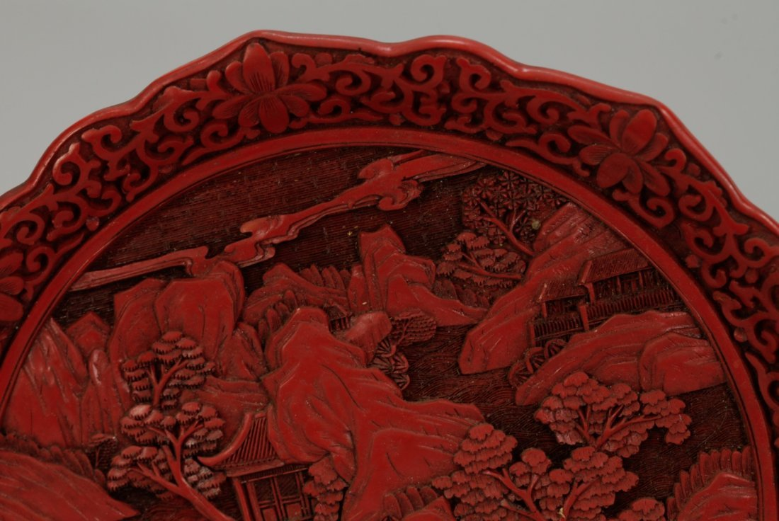 Two Pieces of Chinese Cinnabar Carvings - 3