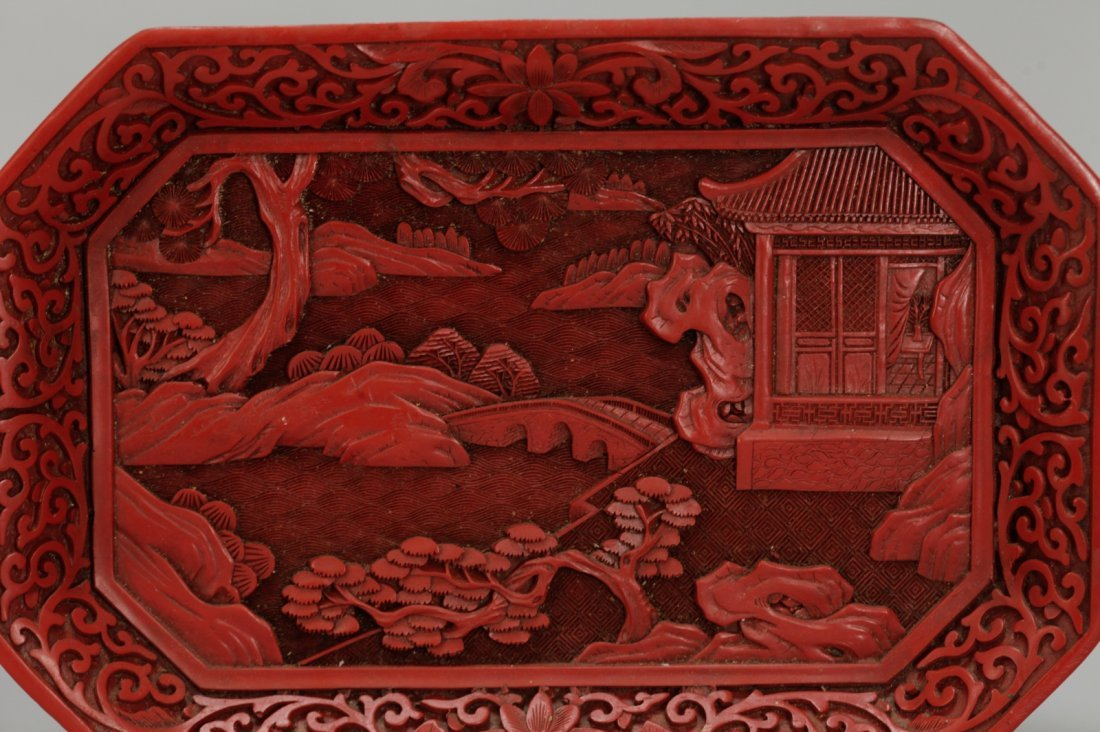 Two Pieces of Chinese Cinnabar Carvings - 5