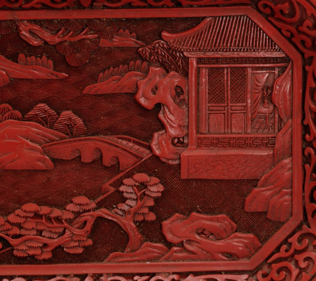 Two Pieces of Chinese Cinnabar Carvings - 7