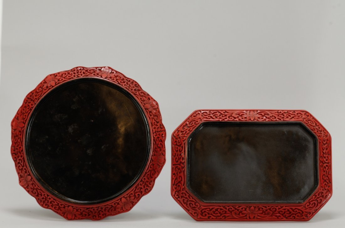 Two Pieces of Chinese Cinnabar Carvings - 8