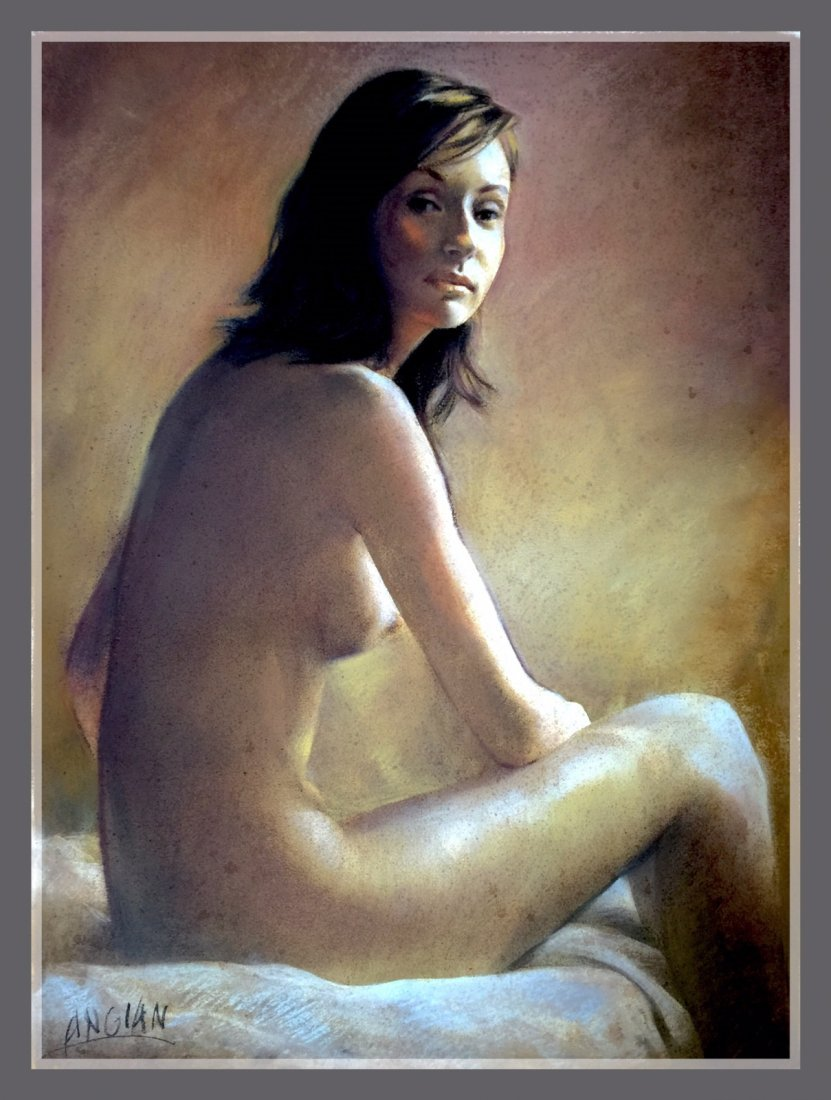 Pastel Drawing Painting , Nude Lady