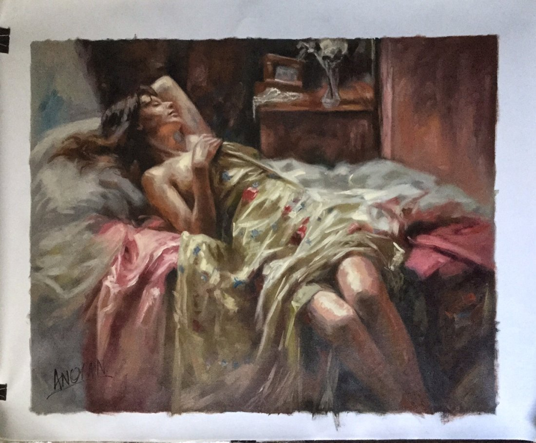 Oil Painting on Canvas, Sleeping Woman