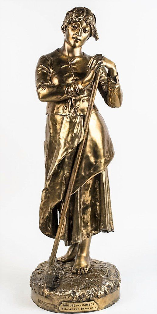 Large19C French Gilt Bronze Statue J.CambosFoundry