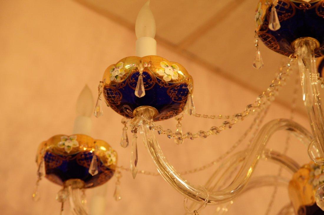 Bohemian 1950's Cobalt Blue Crystal Chandelier - 4