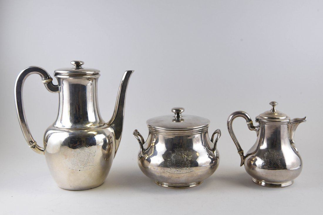 """French Sterling Silver Coffee Set """"Odiot """""""