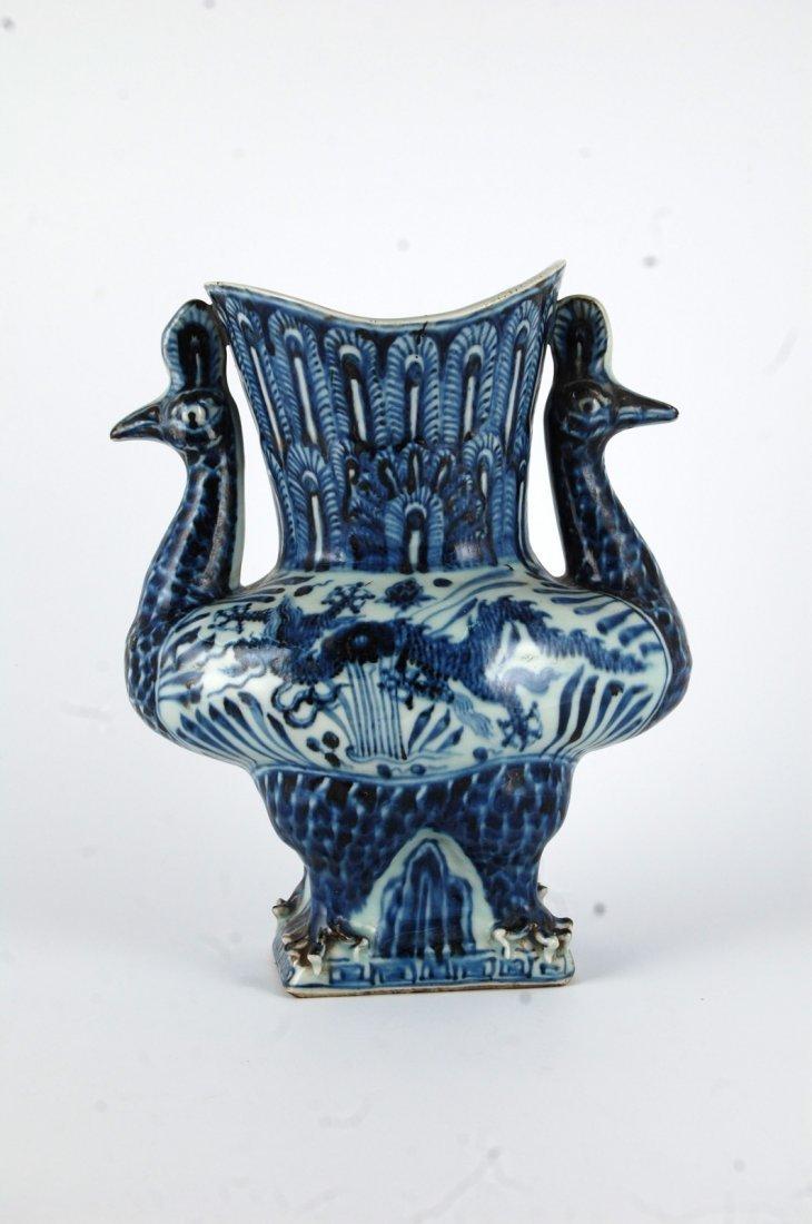 Chinese Blue/White Porcelain Phoenix&Dragon Vase - 2