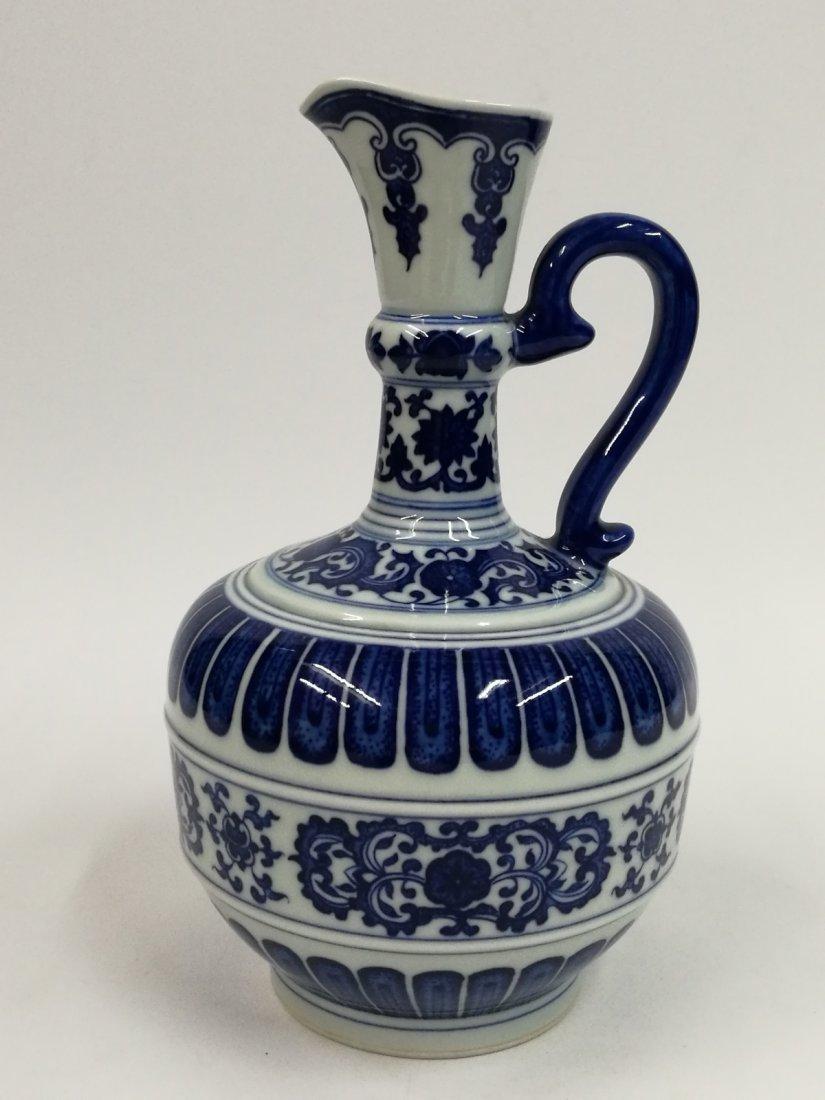 Chinese Blue/White Porcelain Teapot - 4
