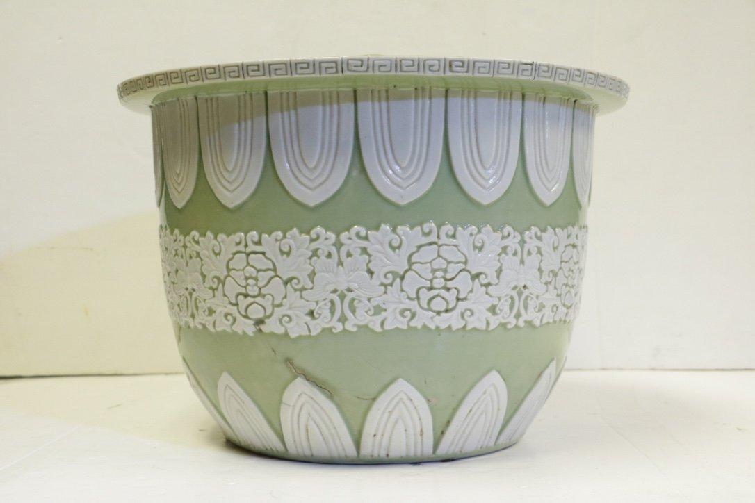 Chinese Green Glazed Porcelain Planter - 19th C.