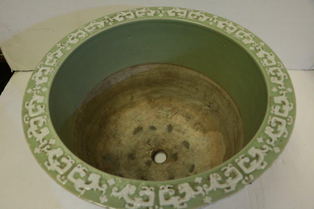 Chinese Green Glazed Porcelain Planter - 19th C. - 3