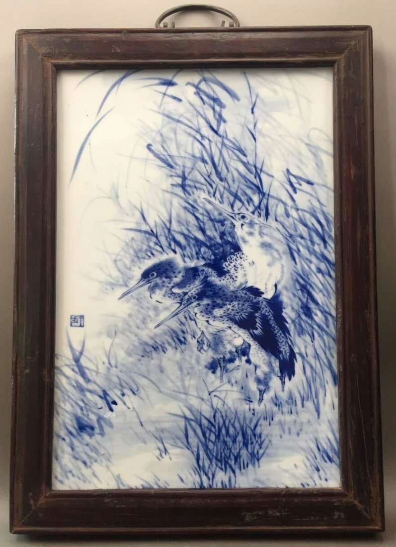 Chinese Blue/White Porcelain Plaque, Marked