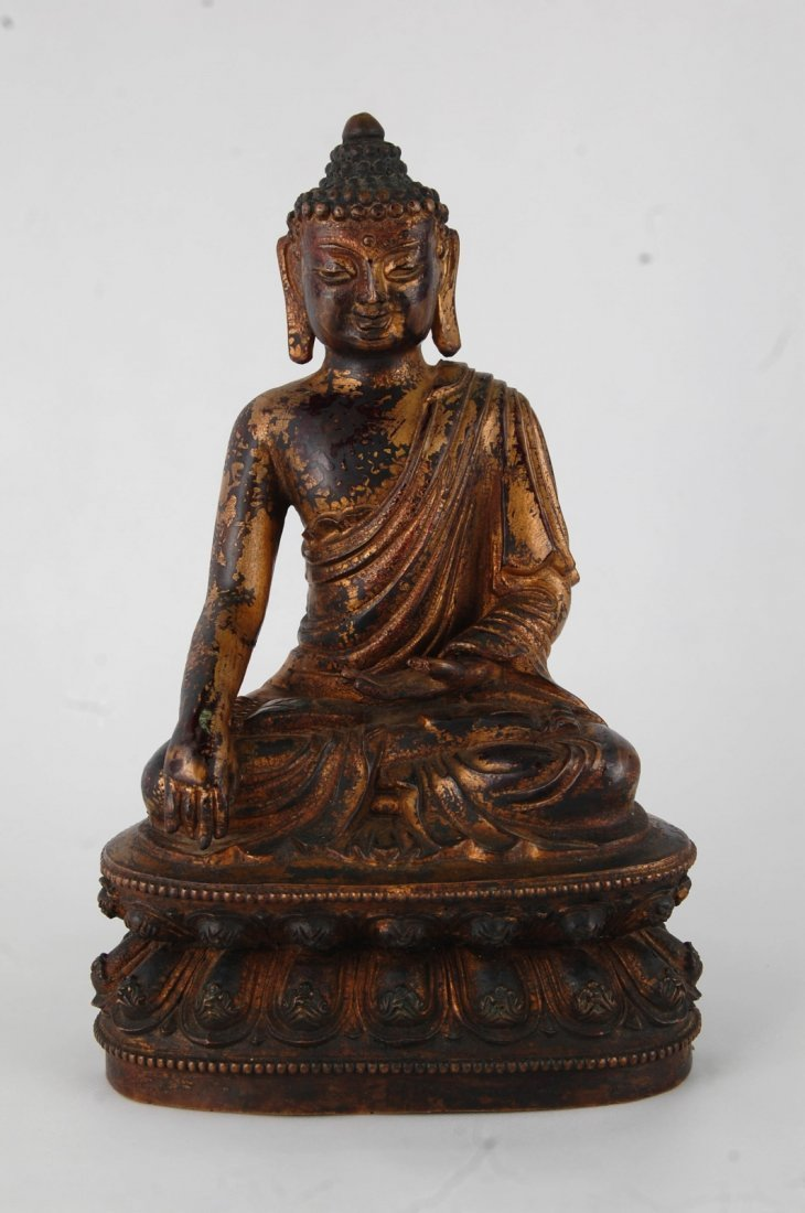 Chinese Gilt Bronze Seating Buddha