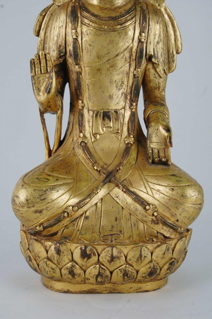 Chinese Gilt Bronze Seating Buddha - 3