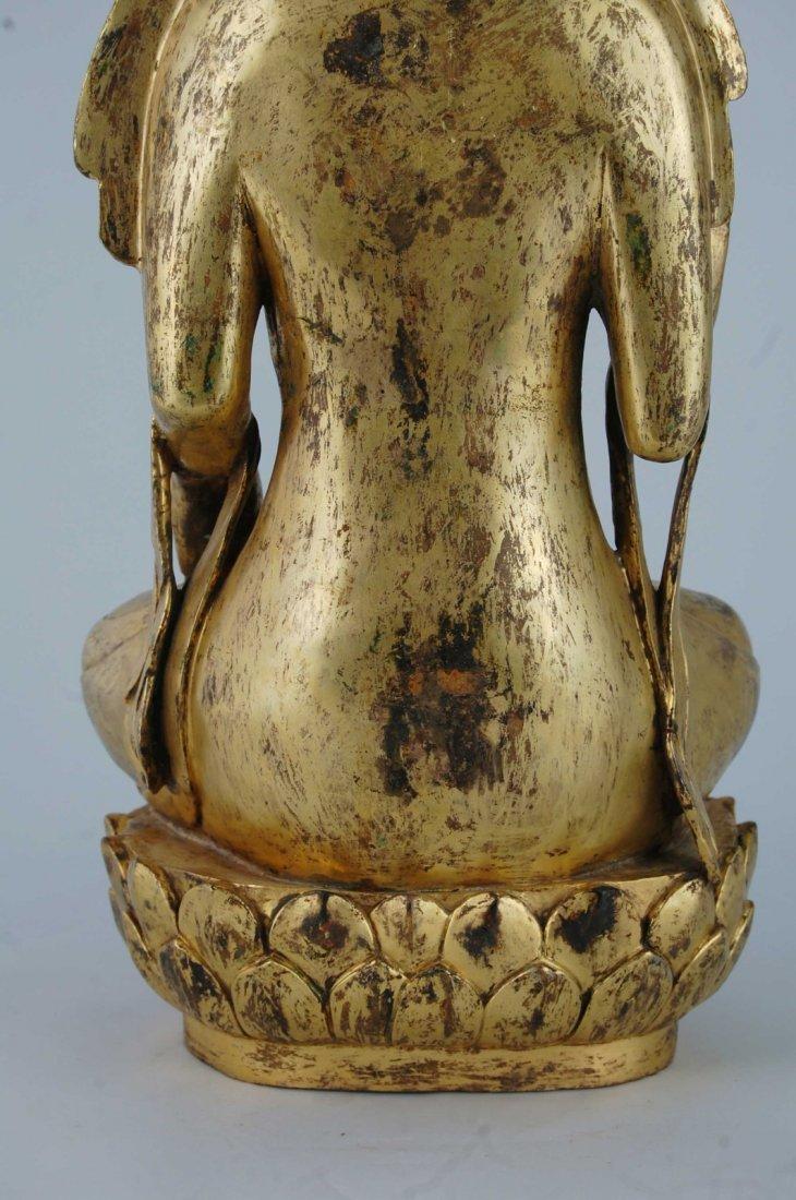 Chinese Gilt Bronze Seating Buddha - 4